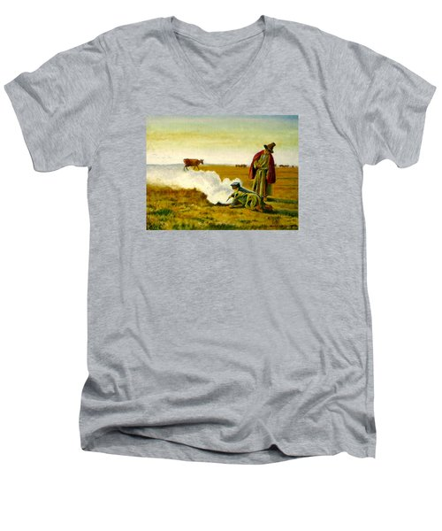 Men's V-Neck T-Shirt featuring the painting The Autumn by Henryk Gorecki