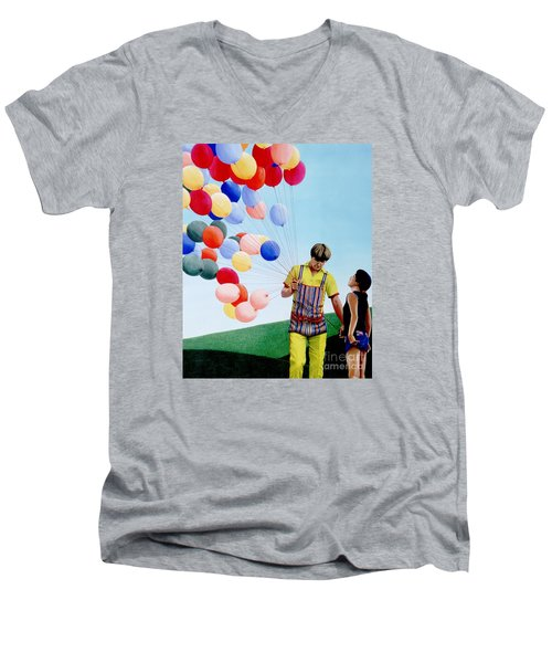 Men's V-Neck T-Shirt featuring the painting The Balloon Man by Michael Swanson