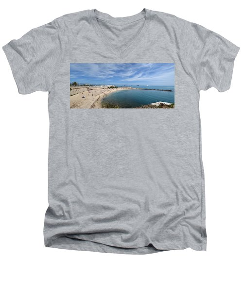 Men's V-Neck T-Shirt featuring the photograph The Beach At Cap D' Antibes by Allen Sheffield