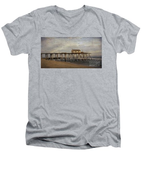 Men's V-Neck T-Shirt featuring the photograph The Belmar Fishing Club Pier by Debra Fedchin