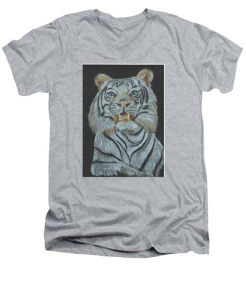 Men's V-Neck T-Shirt featuring the pastel The Bengal by Carol Wisniewski