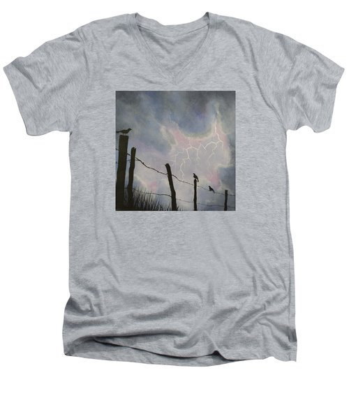 The Birds - Watching The Show Men's V-Neck T-Shirt by Jack Malloch
