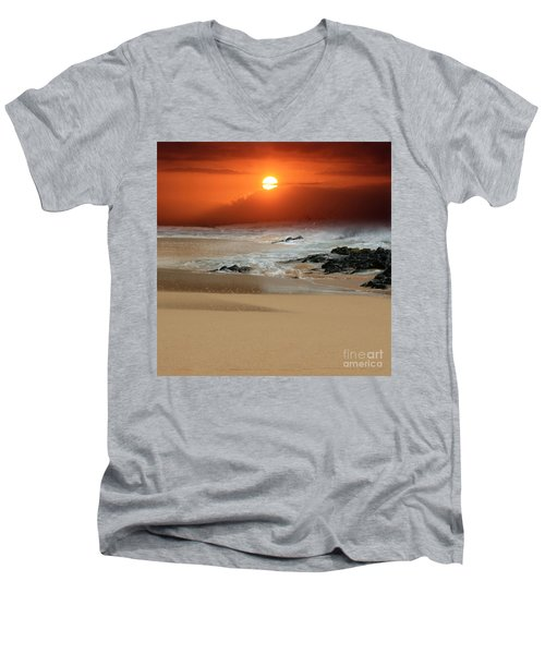 The Birth Of The Island Men's V-Neck T-Shirt by Sharon Mau