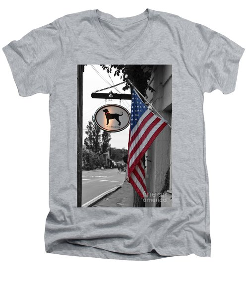 Men's V-Neck T-Shirt featuring the photograph The Black Dog Store by Angela DeFrias