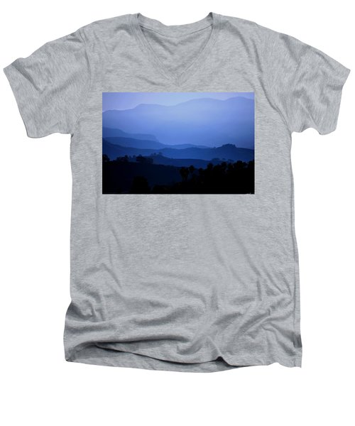 The Blue Hills Men's V-Neck T-Shirt by Matt Harang