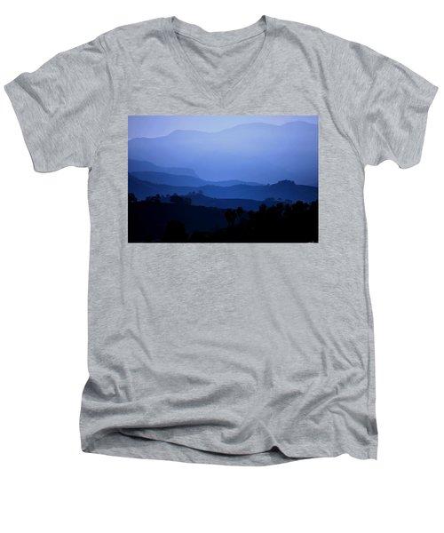 Men's V-Neck T-Shirt featuring the photograph The Blue Hills by Matt Harang