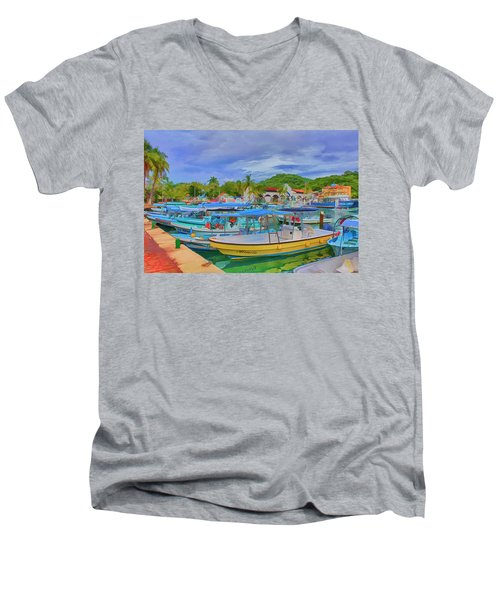 The Boats Of Hautulco Men's V-Neck T-Shirt