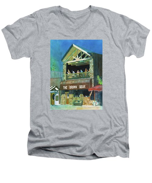 Men's V-Neck T-Shirt featuring the painting The Brown Bear by LeAnne Sowa