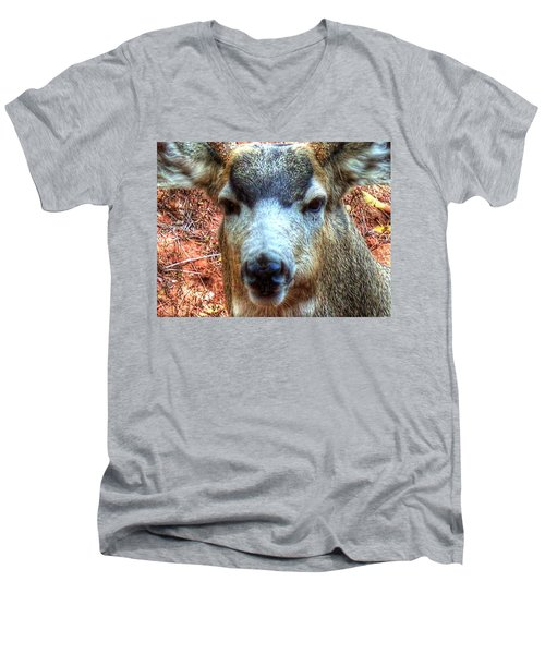 Men's V-Neck T-Shirt featuring the photograph The Buck II by Lanita Williams