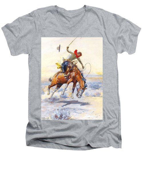The Bucker By Charles M Russell Men's V-Neck T-Shirt by Pg Reproductions