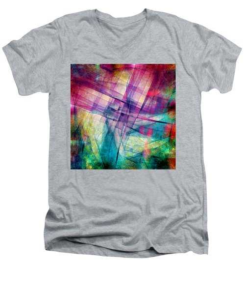 Men's V-Neck T-Shirt featuring the digital art The Building Blocks by Angelina Vick