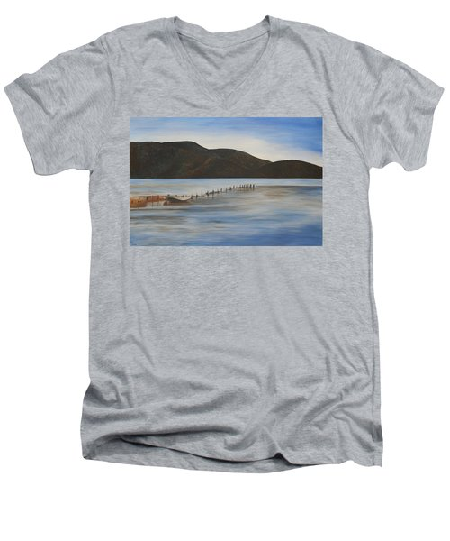 Men's V-Neck T-Shirt featuring the painting The Calm Water Of Akyaka by Tracey Harrington-Simpson