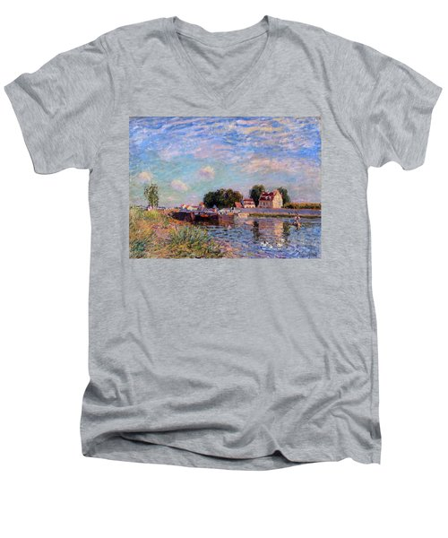The Canal At Saint-mammes Men's V-Neck T-Shirt by Alfred Sisley