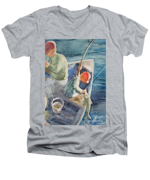 The Catch Men's V-Neck T-Shirt by Marilyn Jacobson
