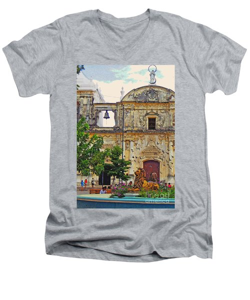The Cathedral Of Leon Men's V-Neck T-Shirt by Lydia Holly
