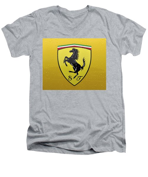 The Cavallino Rampante Symbol Of Ferrari Men's V-Neck T-Shirt