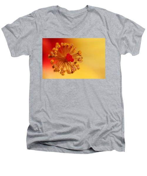 Men's V-Neck T-Shirt featuring the photograph The Center Of The Hibiscus Flower by Debbie Oppermann