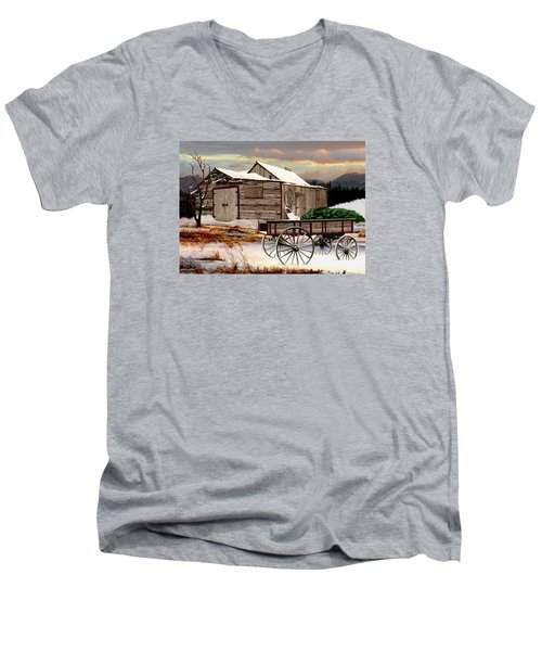 The Christmas Tree Men's V-Neck T-Shirt by Ron and Ronda Chambers