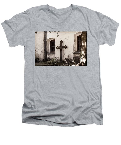 The Church Courtyard Men's V-Neck T-Shirt