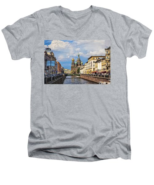 The Church Of Our Savior On Spilled Blood - St. Petersburg - Russia Men's V-Neck T-Shirt by Madeline Ellis