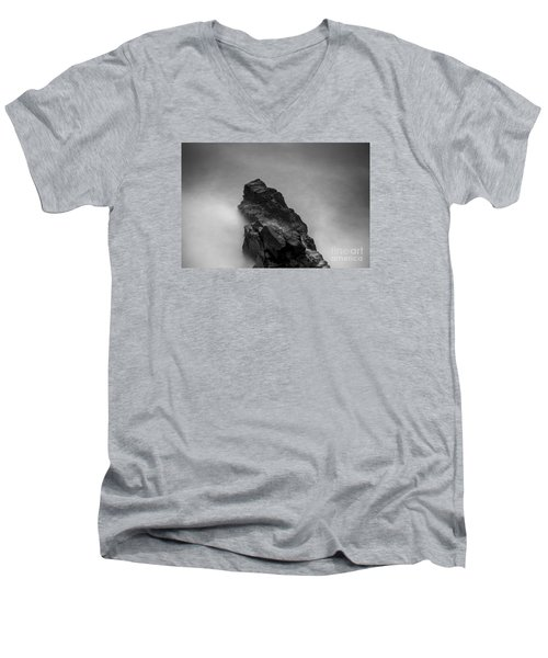 Men's V-Neck T-Shirt featuring the photograph The Cliff by Gunnar Orn Arnason