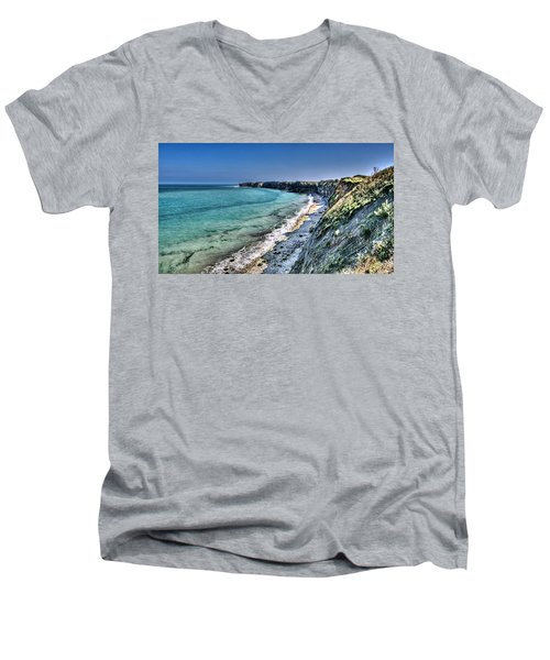 The Cliffs Of Pointe Du Hoc Men's V-Neck T-Shirt