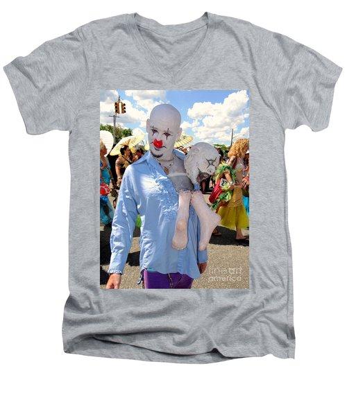 Men's V-Neck T-Shirt featuring the photograph The Clown by Ed Weidman