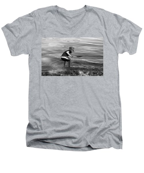 Men's V-Neck T-Shirt featuring the photograph  The Collector by Debbie Oppermann