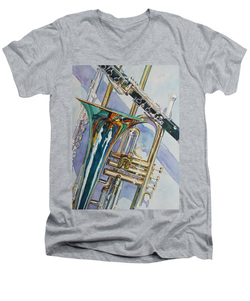 The Color Of Music Men's V-Neck T-Shirt by Jenny Armitage