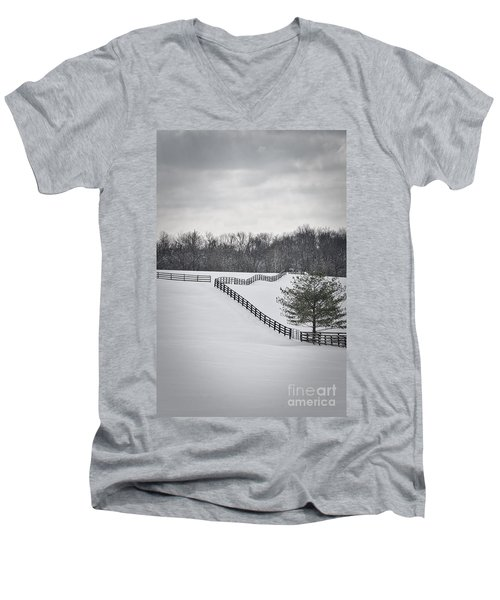 The Color Of Winter - Bw Men's V-Neck T-Shirt by Mary Carol Story