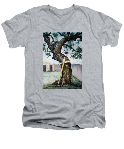 Da216 The Cross And The Tree By Daniel Adams Men's V-Neck T-Shirt