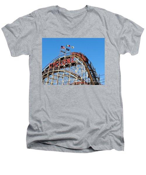 The Cyclone Men's V-Neck T-Shirt by Ed Weidman