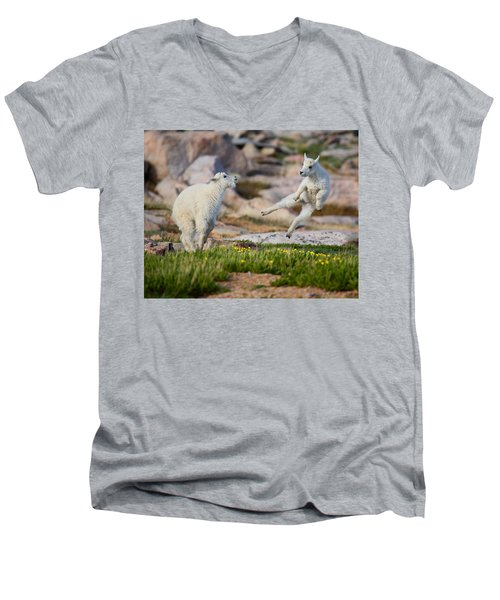 Men's V-Neck T-Shirt featuring the photograph The Dance Of Joy by Jim Garrison