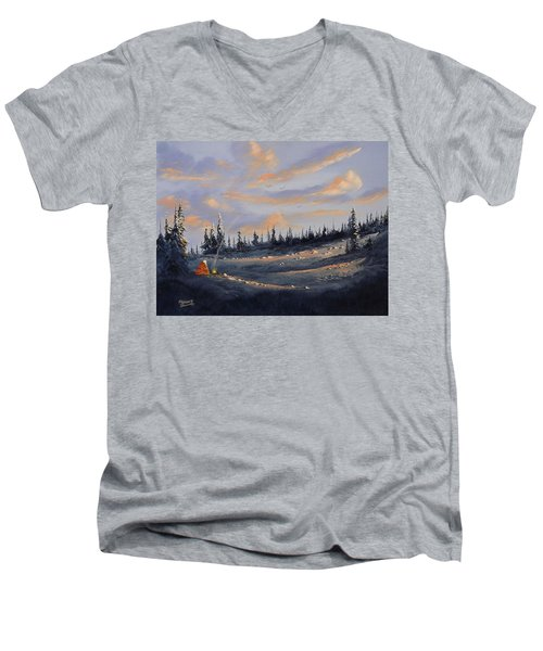 Men's V-Neck T-Shirt featuring the painting The Days End by Richard Faulkner