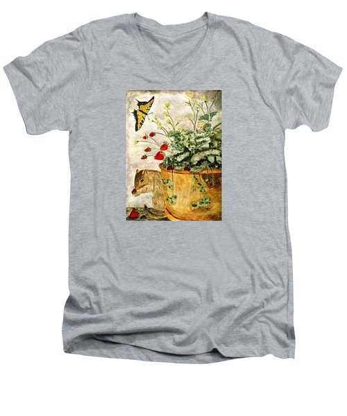 Men's V-Neck T-Shirt featuring the painting The Discovery by Angela Davies