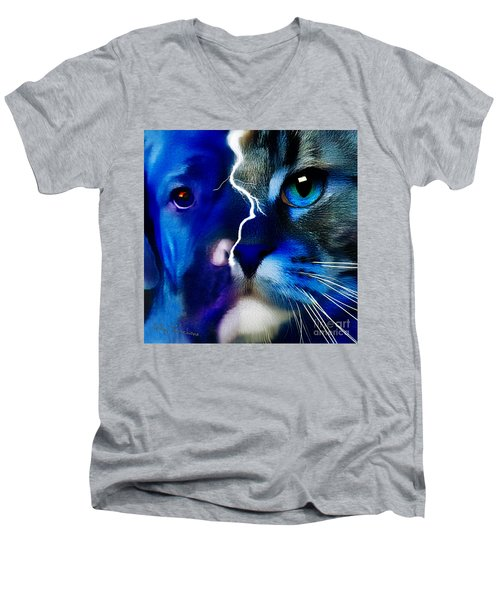 Men's V-Neck T-Shirt featuring the digital art We All Connect by Kathy Tarochione
