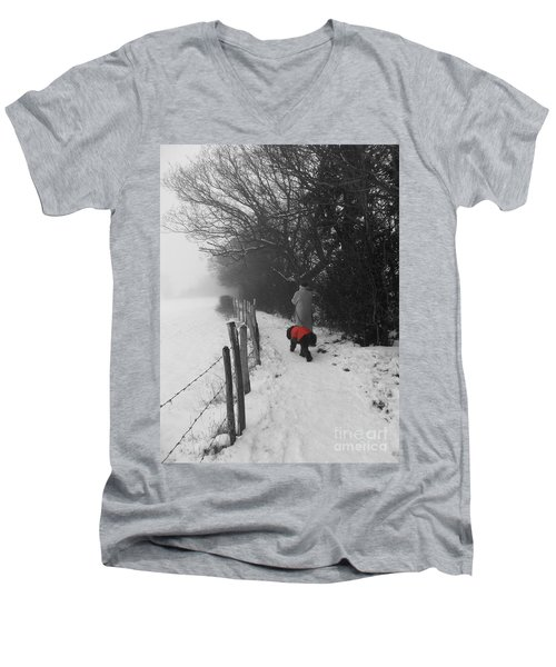 Men's V-Neck T-Shirt featuring the photograph The Dog In The Red Coat by Vicki Spindler