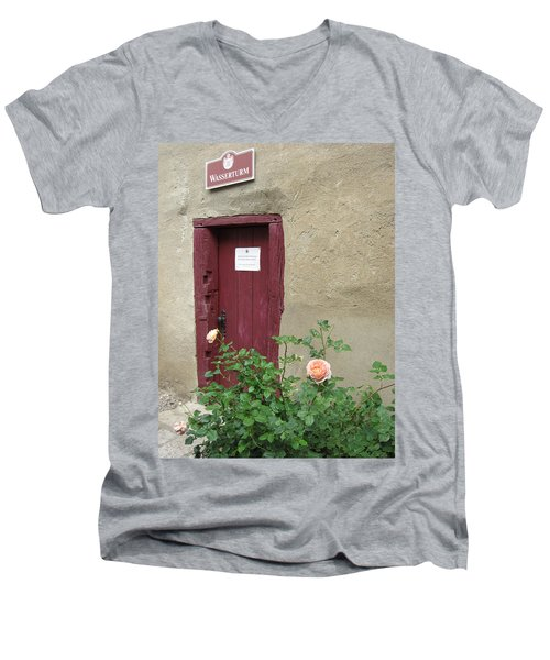 Men's V-Neck T-Shirt featuring the photograph The Doorway by Pema Hou