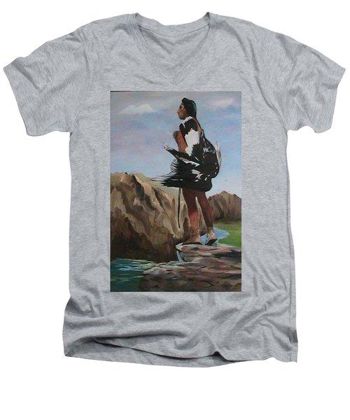 The Eagle Hunter Men's V-Neck T-Shirt by Catherine Swerediuk