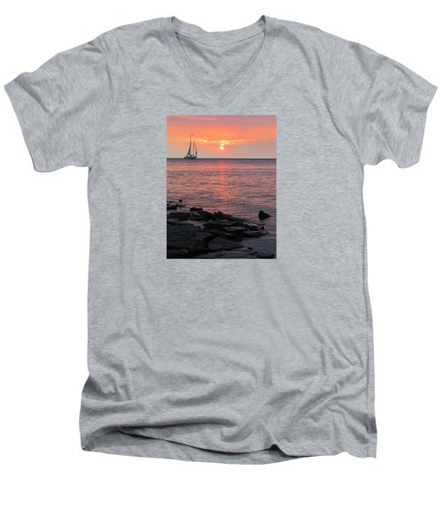 The Edith Becker Sunset Cruise Men's V-Neck T-Shirt by David T Wilkinson
