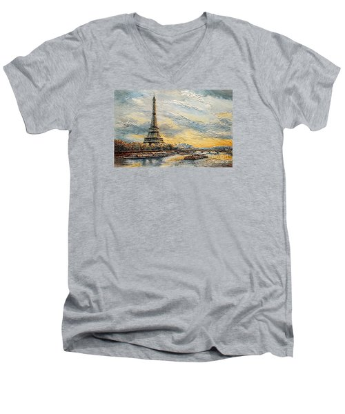 Men's V-Neck T-Shirt featuring the painting The Eiffel Tower- From The River Seine by Joey Agbayani