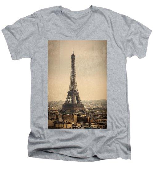 The Eiffel Tower In Paris France Men's V-Neck T-Shirt