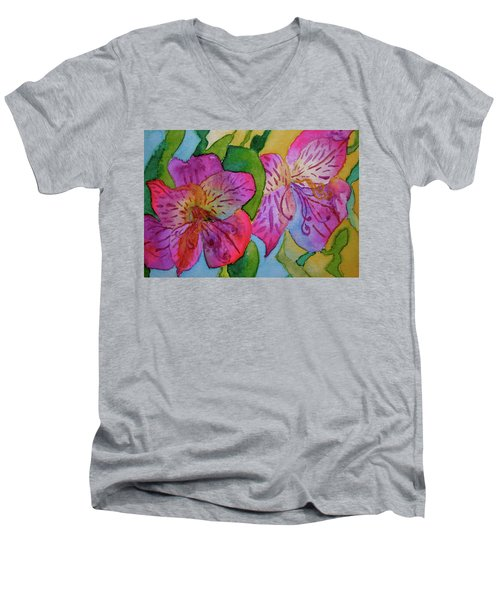 The Electric Kool-aid Alstroemeria Test Men's V-Neck T-Shirt by Beverley Harper Tinsley