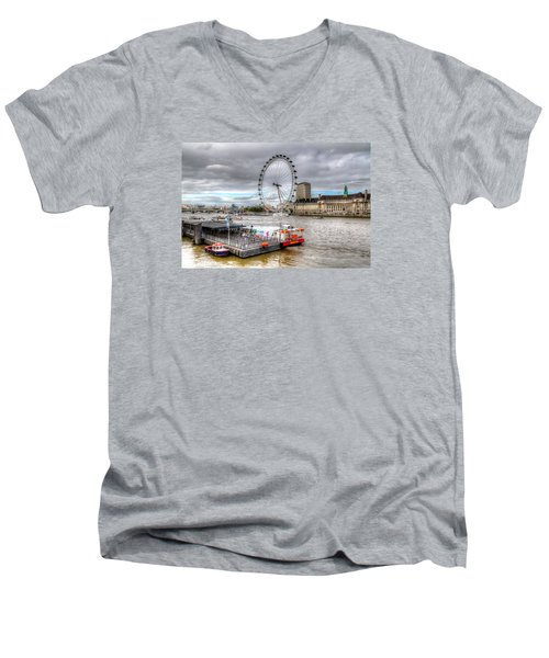 Men's V-Neck T-Shirt featuring the photograph The Eye Across The Thames by Tim Stanley