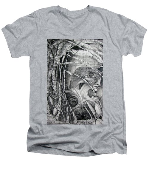 Men's V-Neck T-Shirt featuring the drawing The Eye Of The Fomorii - Regrouping For The Battle by Otto Rapp