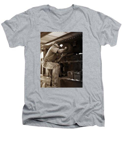 Men's V-Neck T-Shirt featuring the photograph The Farmer by Rebecca Davis