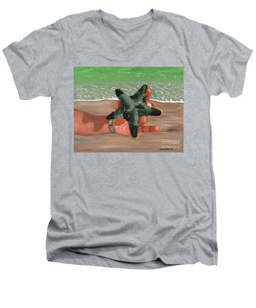 Men's V-Neck T-Shirt featuring the painting The Find by Laura Forde