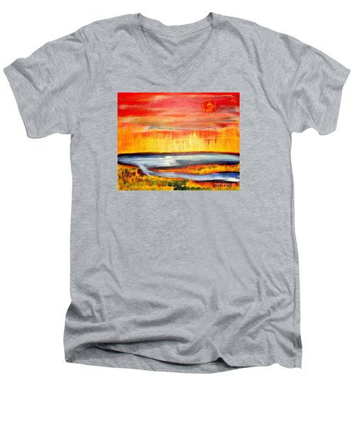 The First Handcart Is Faith Men's V-Neck T-Shirt by Richard W Linford