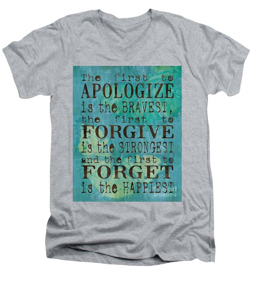 The First To Apologize Men's V-Neck T-Shirt by Debbie DeWitt