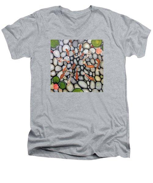 The Fish Pond Men's V-Neck T-Shirt by John Stuart Webbstock